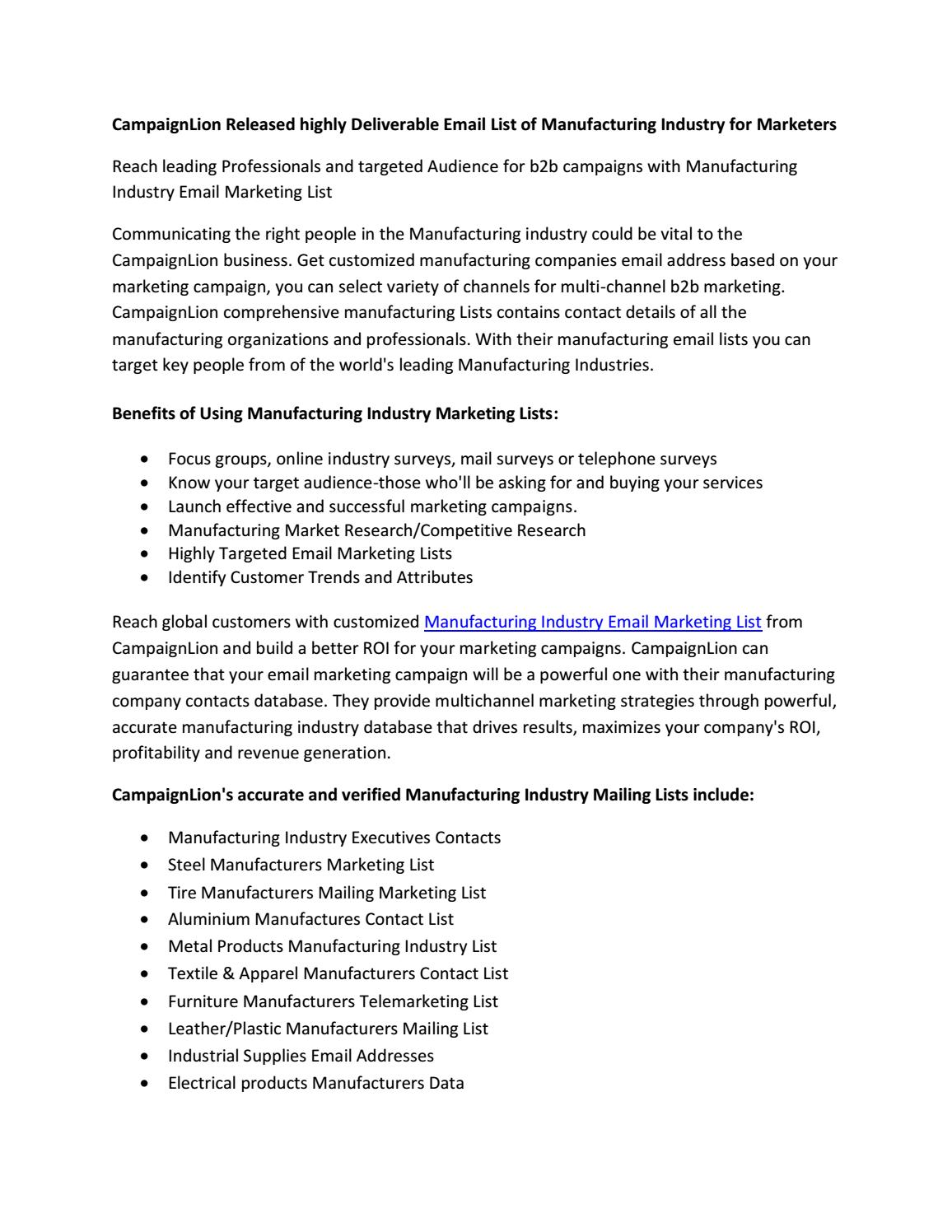 Manufacturing Industry Email Marketing List | Industrial Mailing