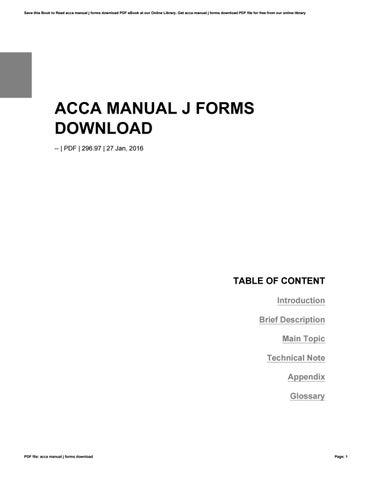 Acca Manual J Forms - Best Setting Instruction Guide •