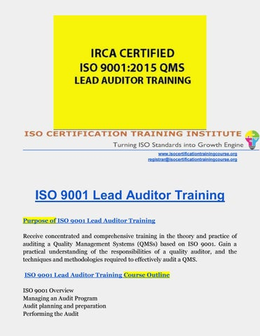 iso 9001 lead assessor training