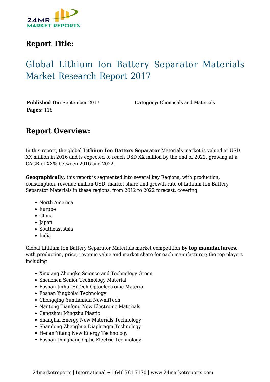 Lithium ion battery separator materials market 70