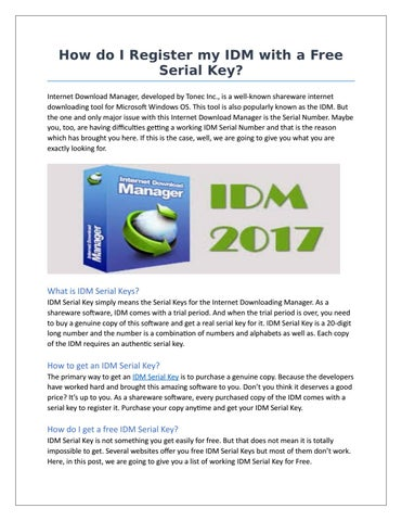 How do i register my idm with a free serial key by IDM key