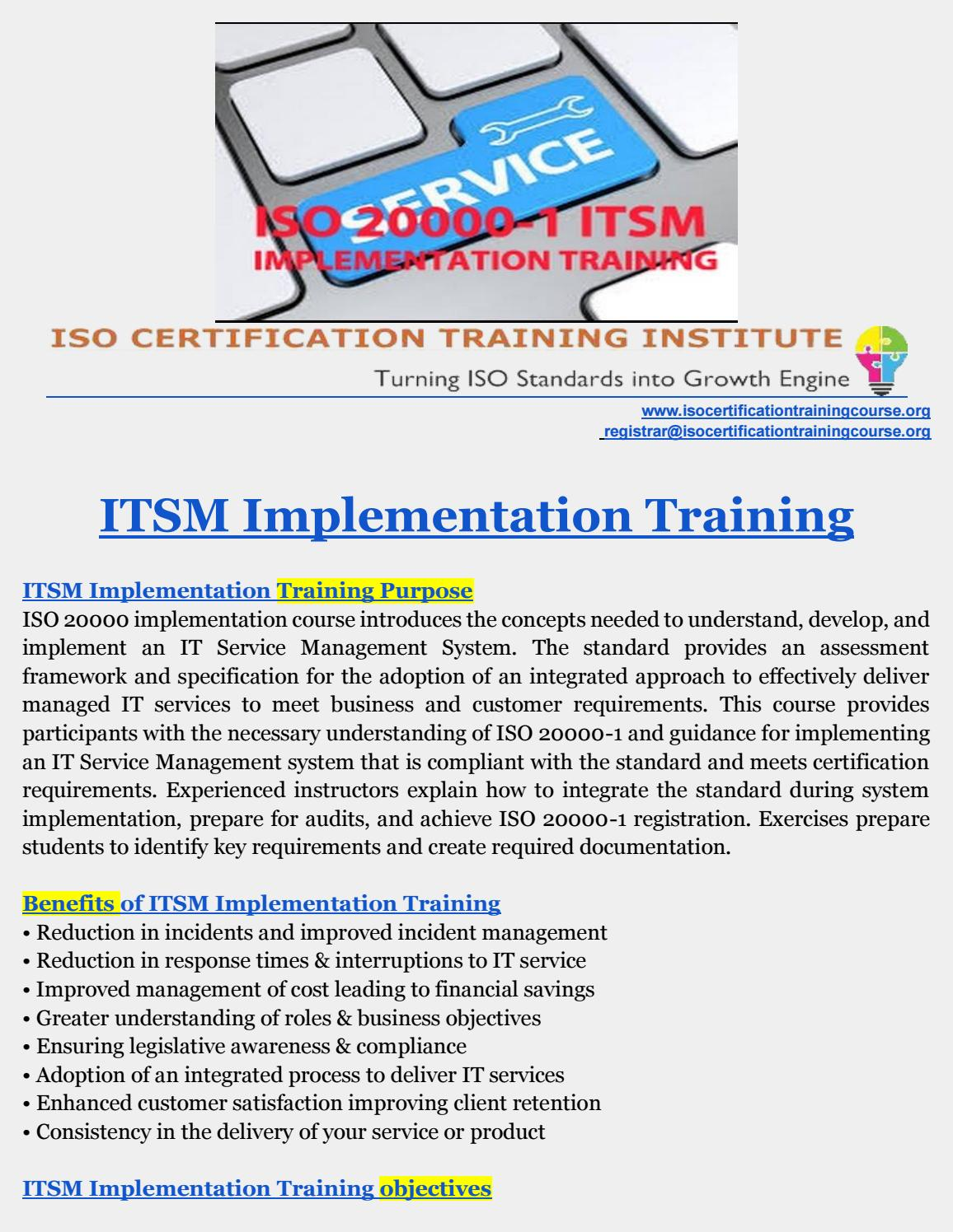 Itsm Training Itsm Implementation Implementing Itsm By Iso