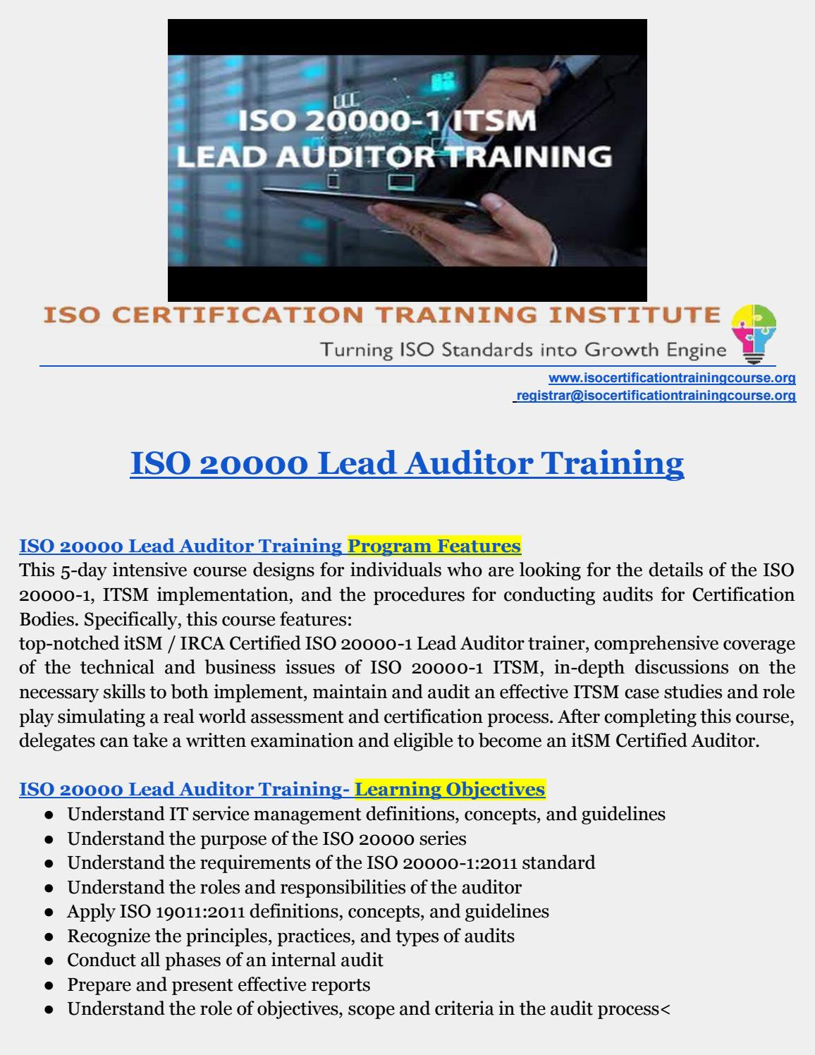 Itsm Training Iso 20000 Lead Auditor Training By Iso Training