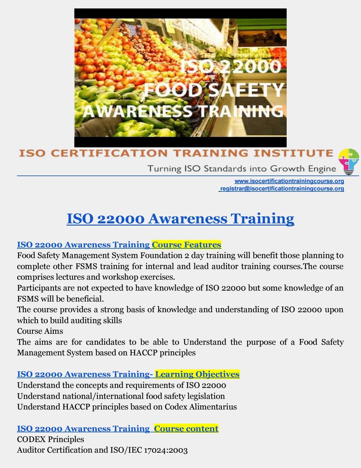 ISO 22000 training | ISO 22000 Awareness Training | FSSC