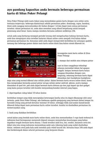 Ayo Pandang Kapasitas Anda Bermain Beberapa Permainan Kartu Di Situs Poker Pelangi By Brooklynswinford374 Issuu