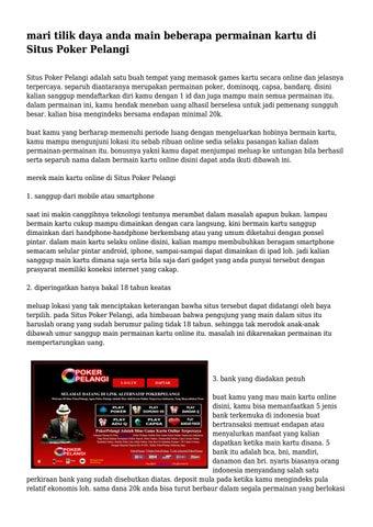 Mari Tilik Daya Anda Main Beberapa Permainan Kartu Di Situs Poker Pelangi By Adorableskit3457 Issuu