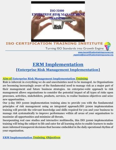 Enterprise Risk Management Training   ISO 31000 training