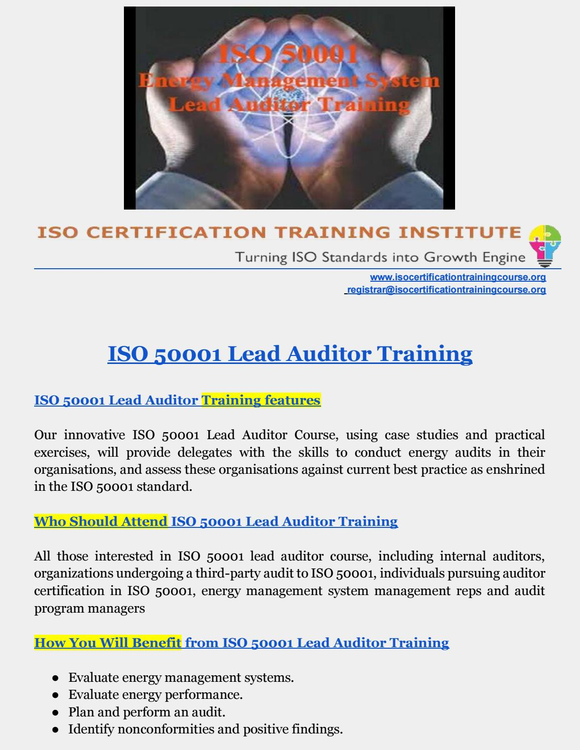 ISO 50001 Training | Energy Management Training | ISO 50001 LEAD AUDITOR  TRAINING by ISO Training Institute - issuu