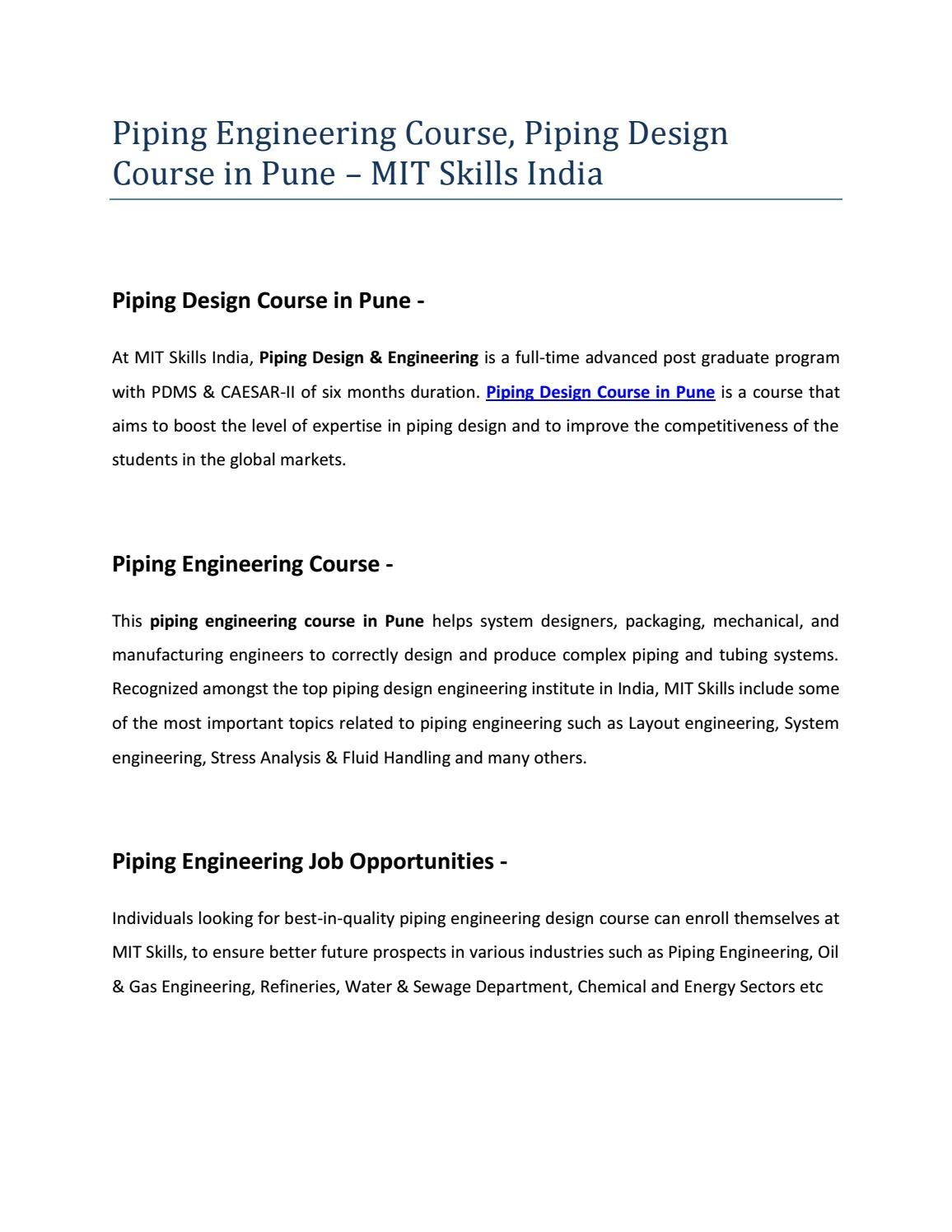 Piping Layout Engineer Job Description Wiring Library Engineering Course Design In Pune Mit Skills India By