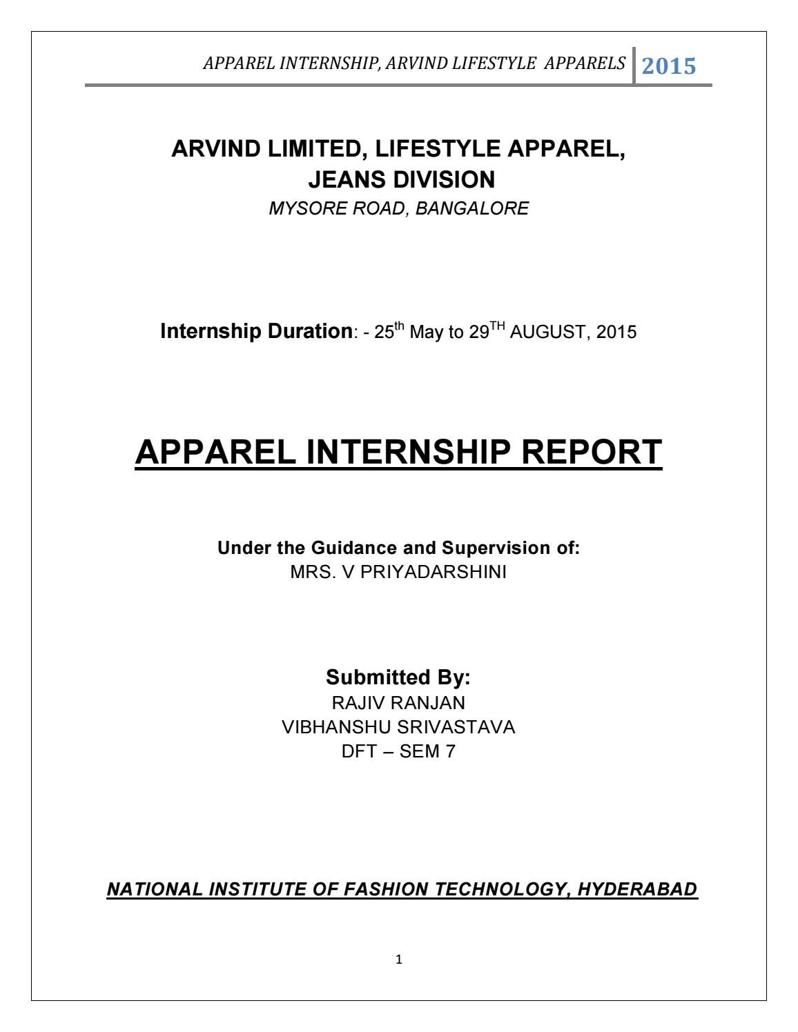 Internship report ARVIND limited by Aditya Raj - issuu
