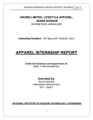 Internship Report Arvind Limited By Aditya Raj  Issuu