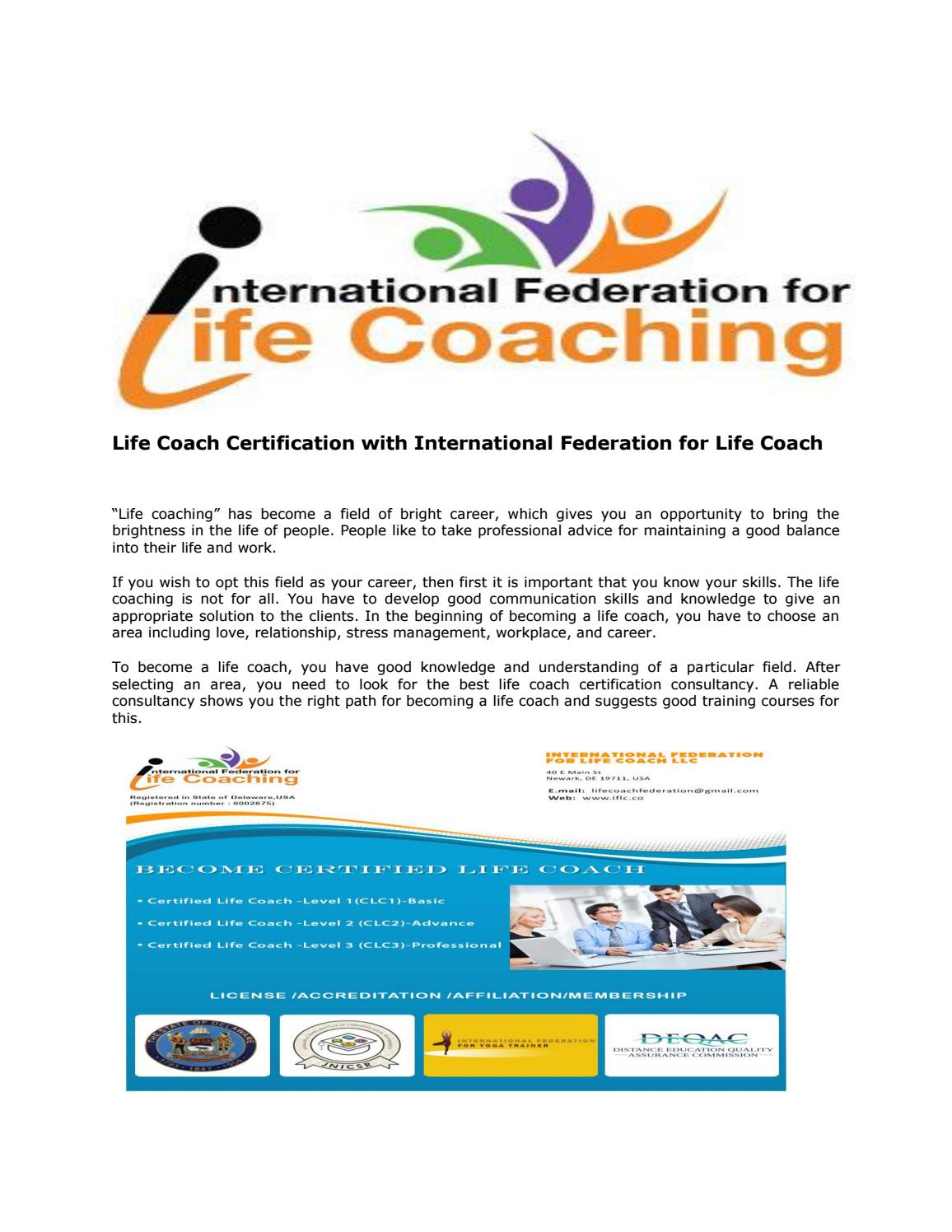 Life Coach Certification With International Federation For Life