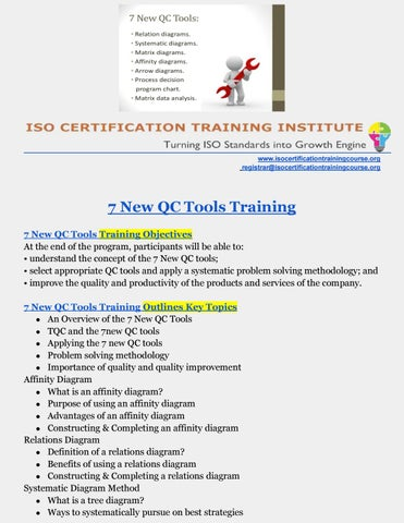 7 new qc tools 7 new qc tools training by iso training institute page 1 ccuart Gallery