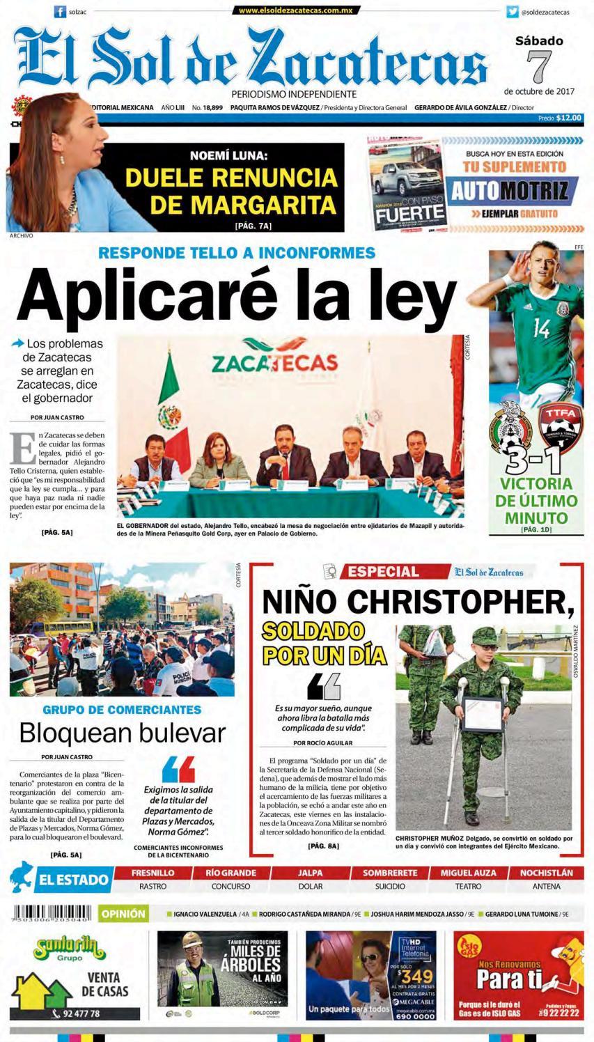 569fdaed81b3b El Sol de Zacatecas 7 de octubre 2017 by El Sol de Zacatecas - issuu