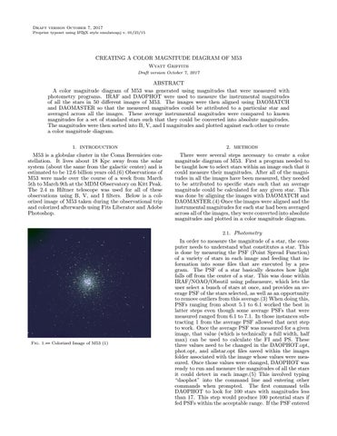 Thesis Creating A Color Magnitude Diagram Of M53 By Wyatt Griffith
