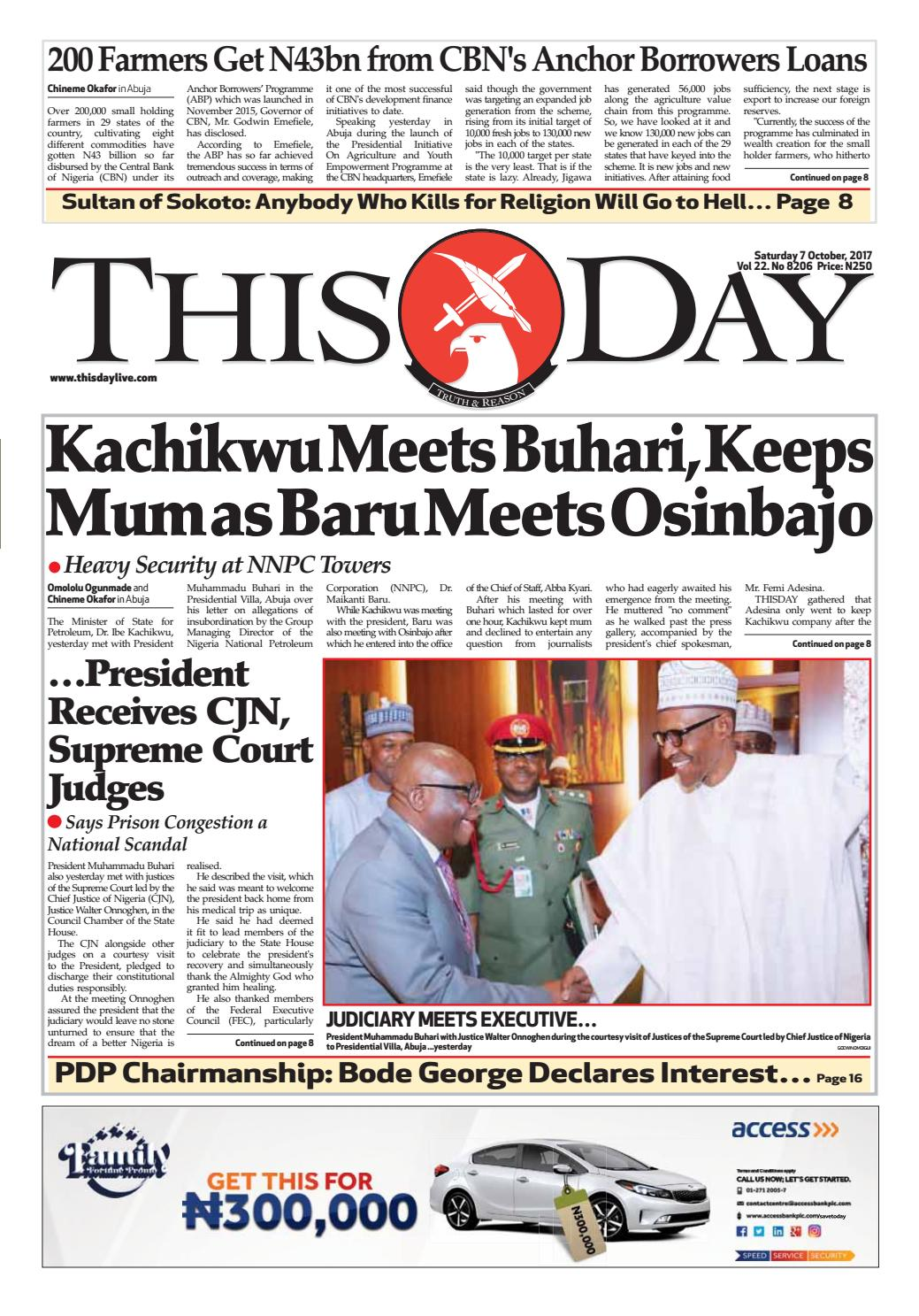 f0edfdcbec499 Saturday 7th October 2017 by THISDAY Newspapers Ltd - issuu