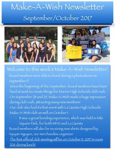 Make-A-Wish Newsletter September/October 2017