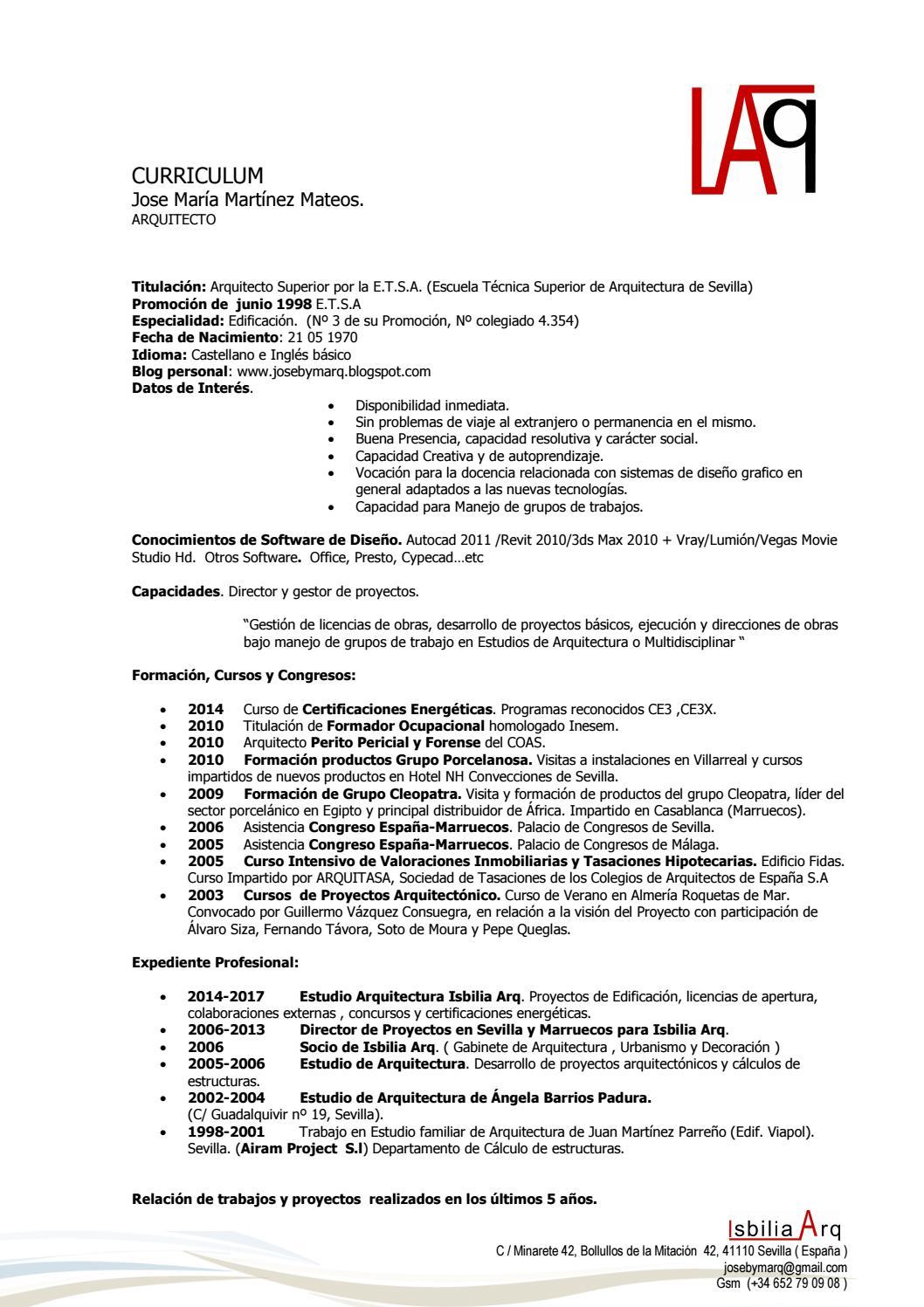 Curriculum octubre jmm 2017 ext by JOSE MARIA MARTINEZ MATEOS - issuu