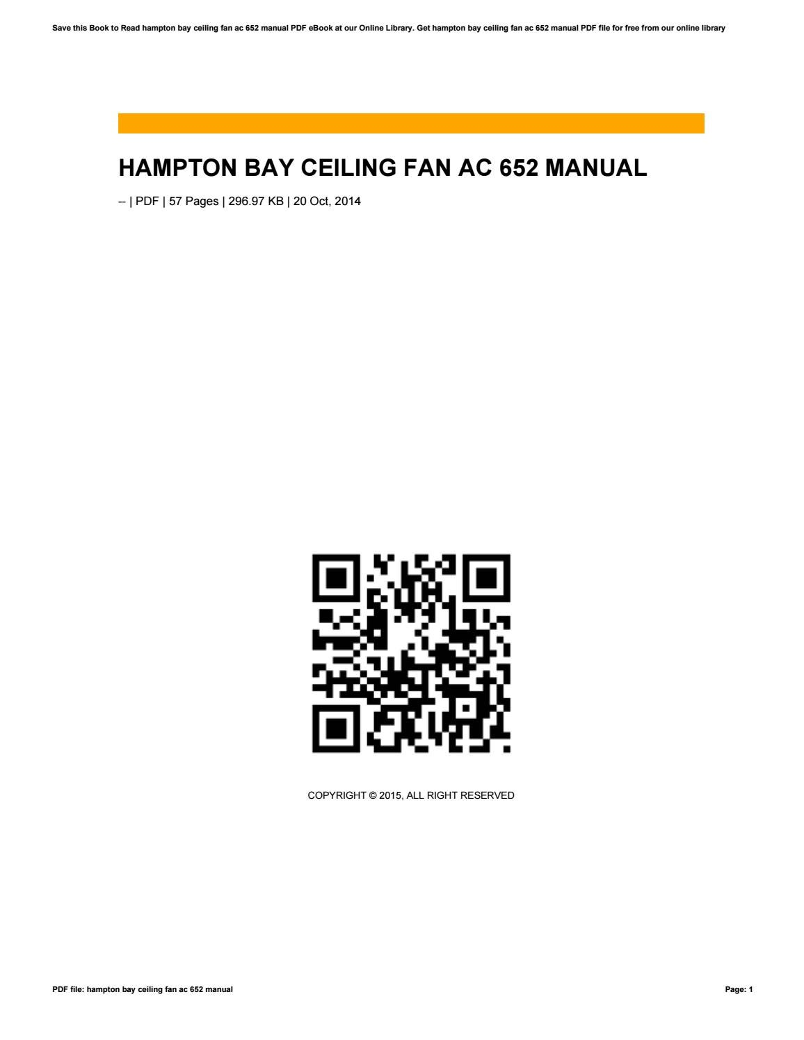 [ZTBE_9966]  Hampton bay ceiling fan ac 652 manual by umie54salsabila - issuu | Ac 652 Ceiling Fan Wiring Diagram |  | Issuu