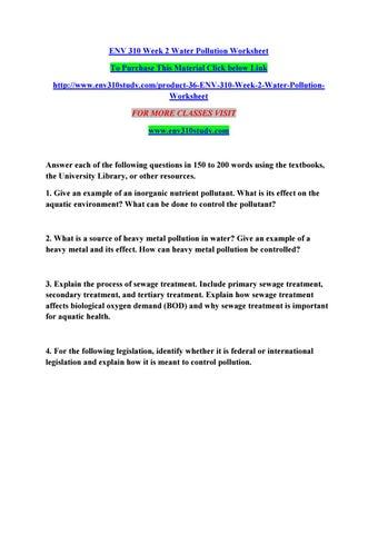 Env 310 Week 2 Water Pollution Worksheet By Manuu87 Issuu