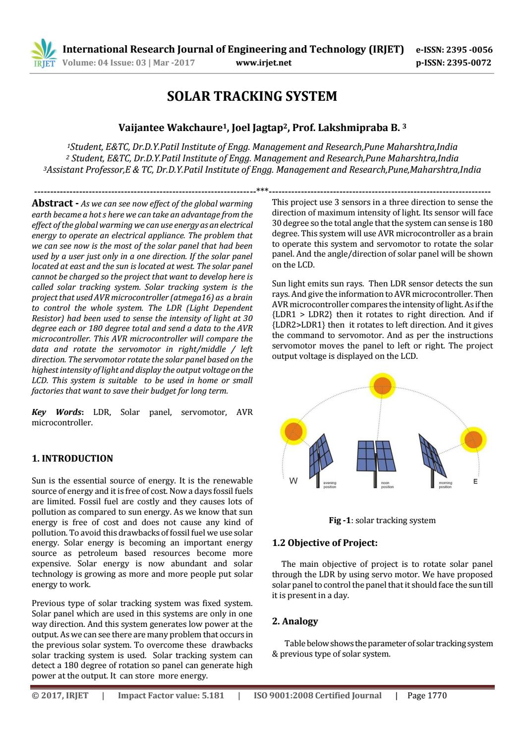 Solar Tracking System by IRJET Journal - issuu