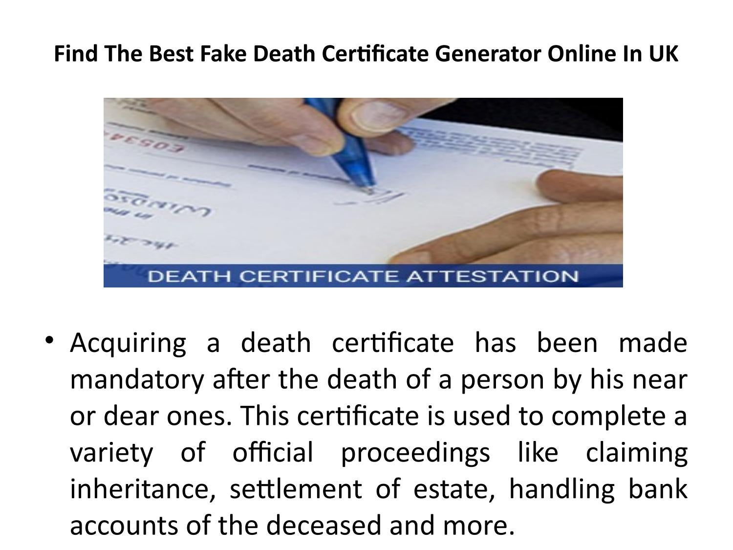 Find The Best Fake Death Certificate Generator Online In Uk By