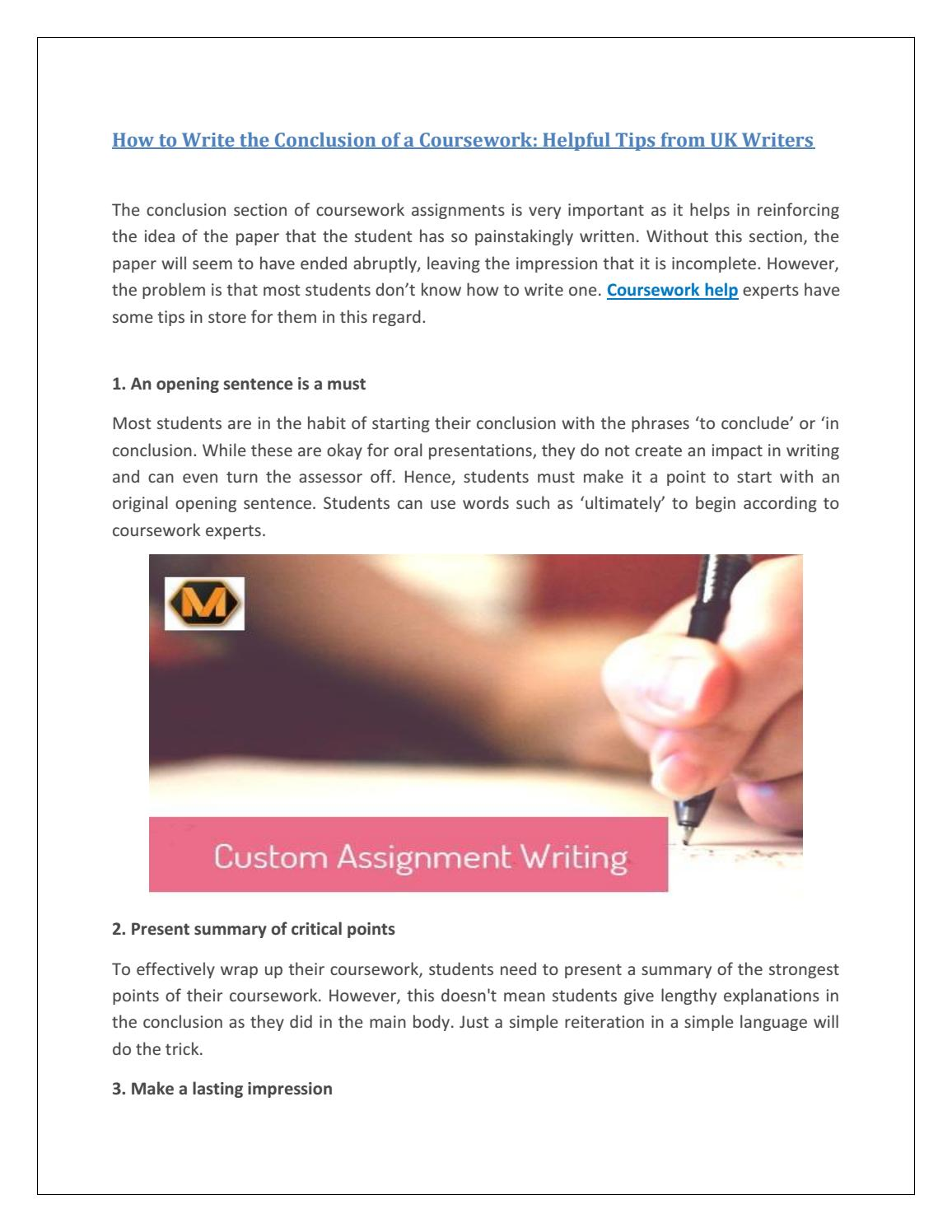 Conclusion of course work is the most important part of the study. Features and requirements 49