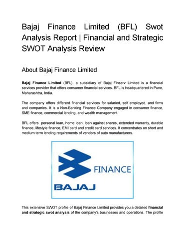 Bajaj Finance Limited Bfl Swot Analysis Report  Financial And