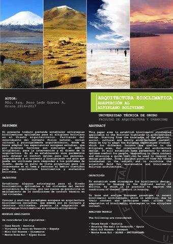 I68 Arquitectura Bioclimática Adaptación Al Altiplano Boliviano