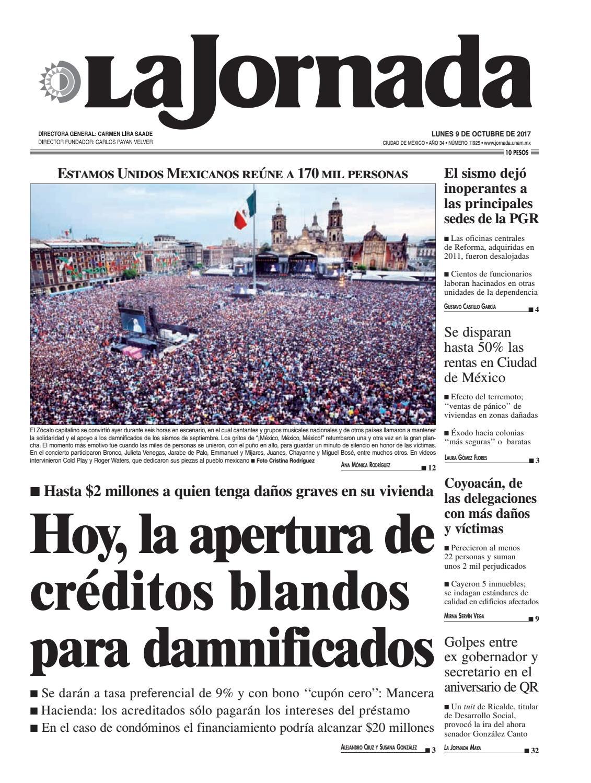 La Jornada 10 09 2017 By La Jornada Demos Desarrollo De Medios  # Ozuna Muebles Posadas
