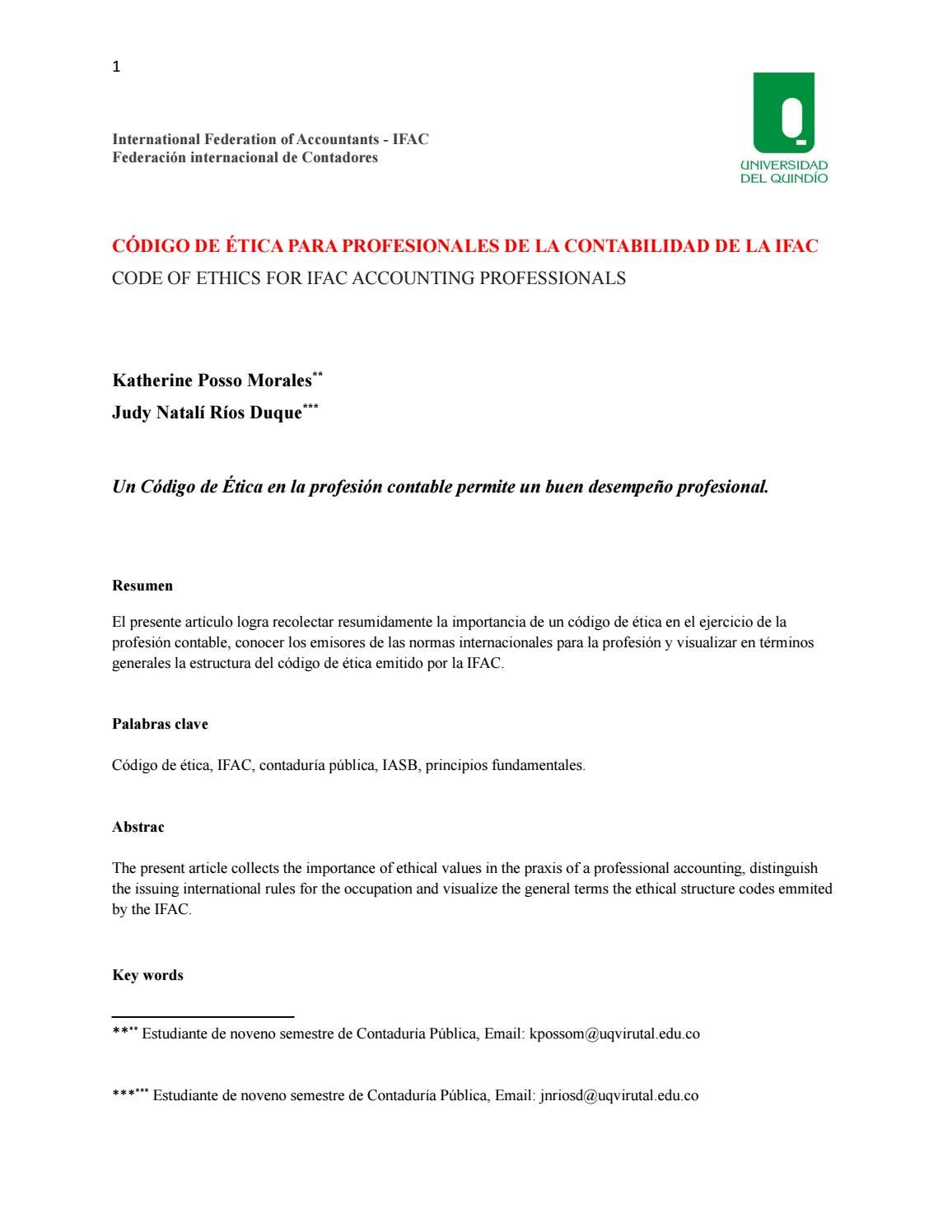 Código de ética ifac by JUDY NATALI RIOS DUQUE - issuu