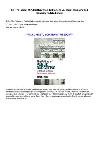 The Politics of Public Budgeting Getting and Spending Borrowing and Balancing 8ed