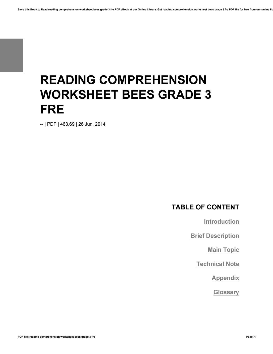 worksheet Reading Comprehension Worksheets Grade 3 reading comprehension worksheet bees grade 3 fre by dimas435anggara issuu