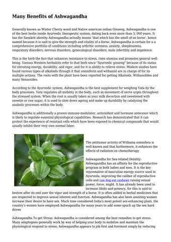 Many Benefits of Ashwagandha    by eduhealthydaily - issuu