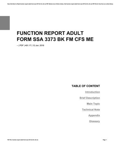 Function report adult form ssa 3373 bk fm cfs me by ...