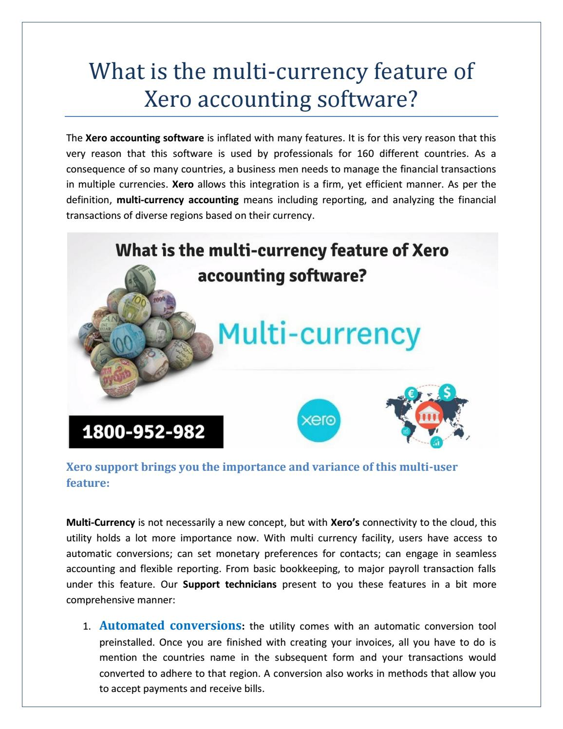 What is the multi currency feature of xero accounting