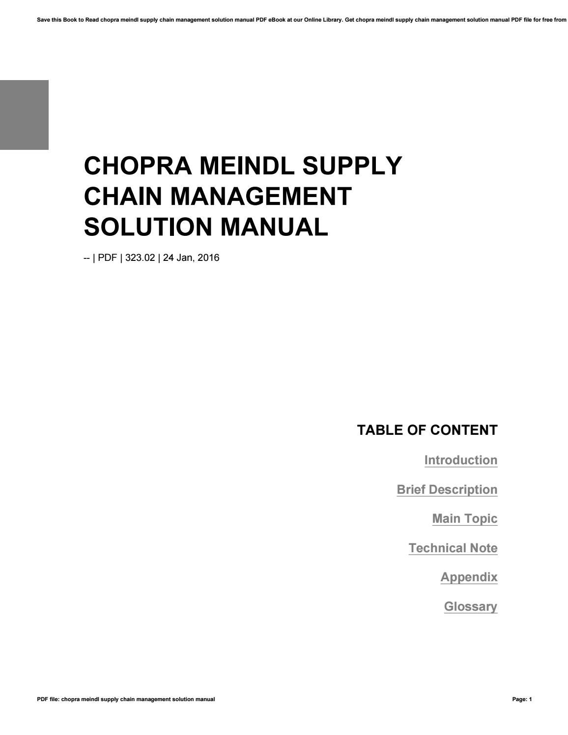 Chopra meindl supply chain management solution manual by riono98giras -  issuu