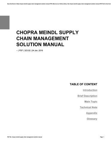 chopra meindl supply chain management solution manual