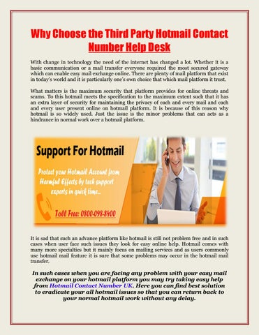 Why Choose The Third Party Hotmail Contact Number Help Desk With Change In Technology Need Of Internet Has Changed A Lot