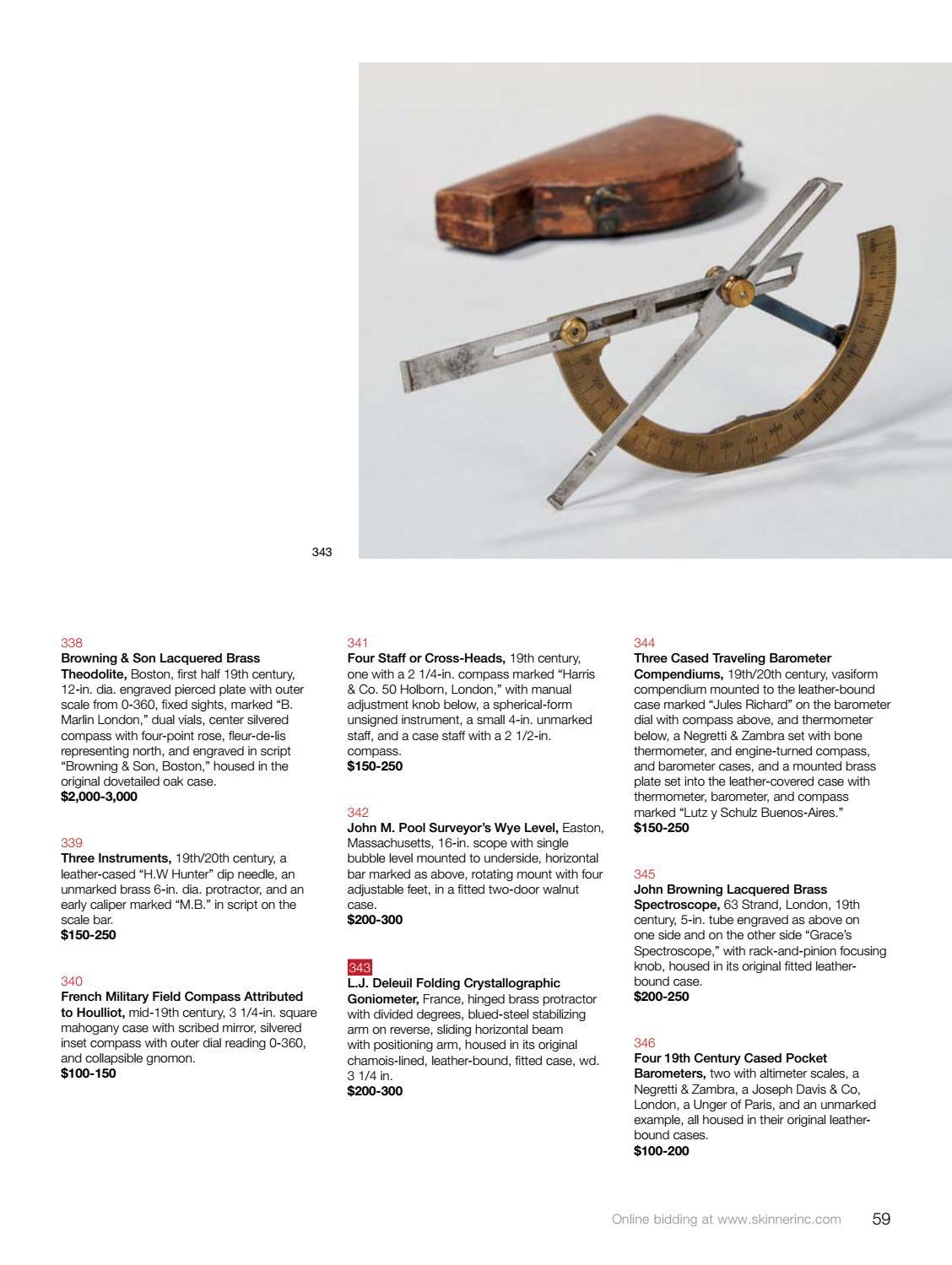 Clocks, Watches & Scientific Instruments   Skinner Auction
