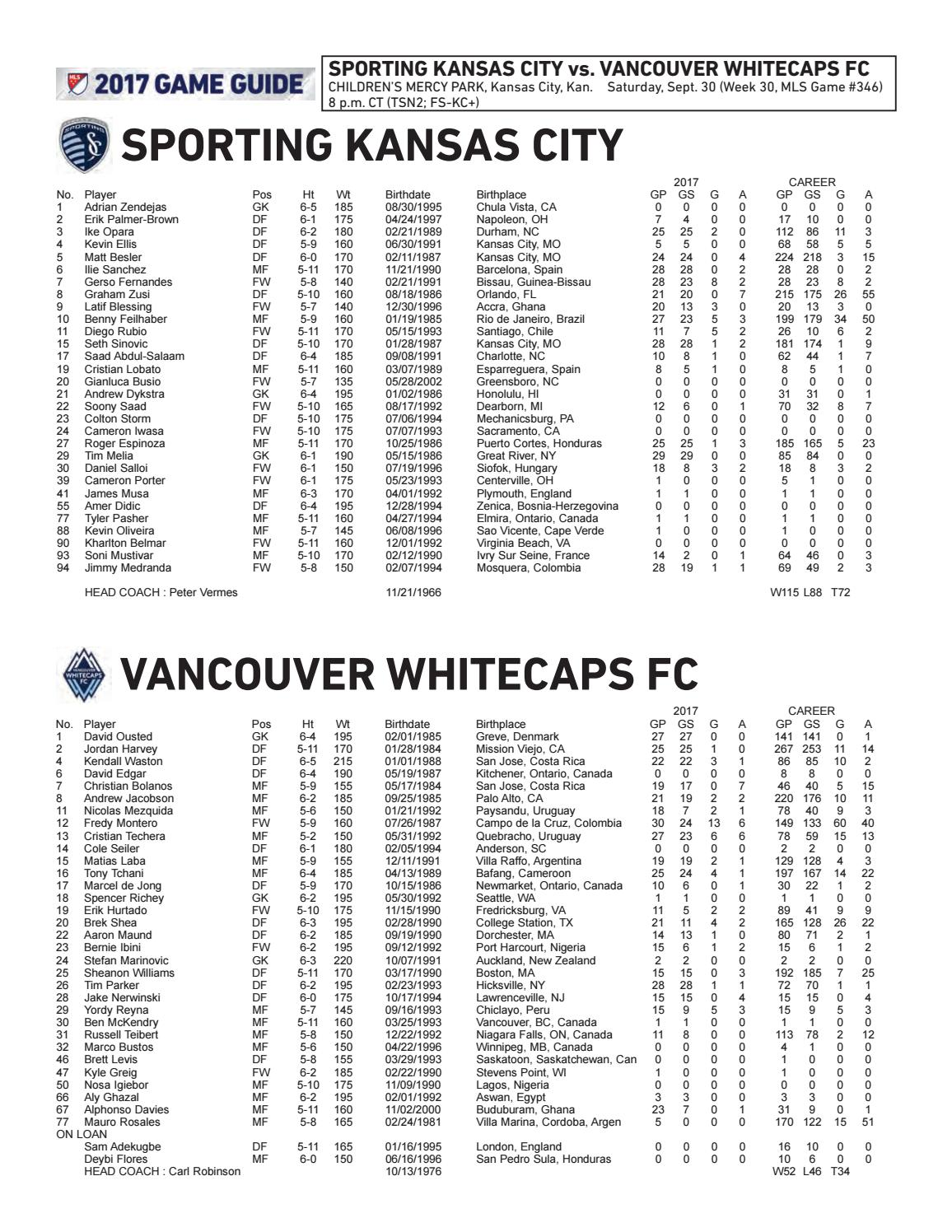 Game Guide  Sporting KC vs Vancouver Whitecaps FC by Sporting Kansas City -  issuu b4d99112f