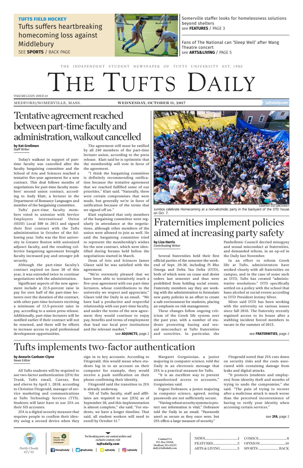 the tufts daily october 11 2017 by tufts daily issuu