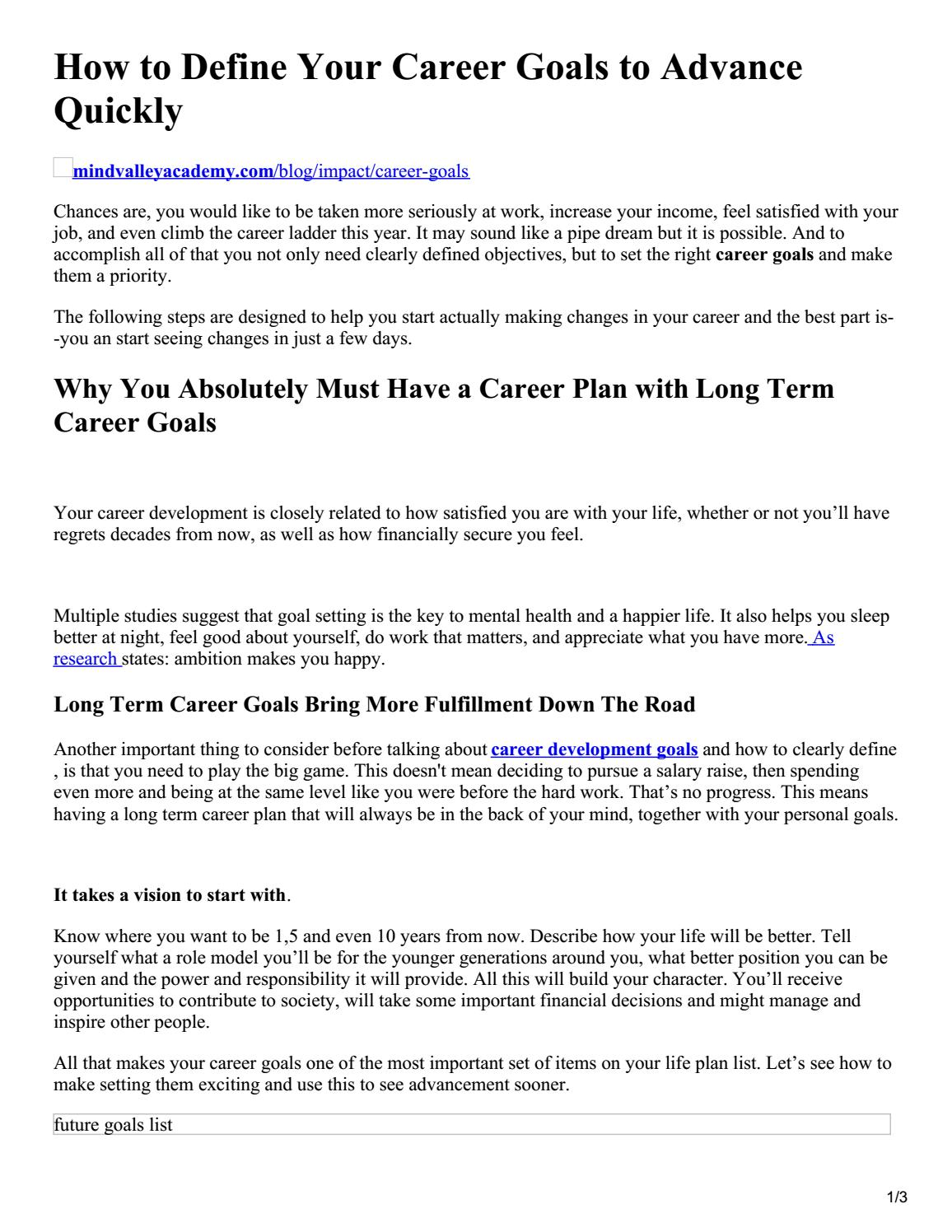 how to define your career goals to advance quickly by career objective issuu