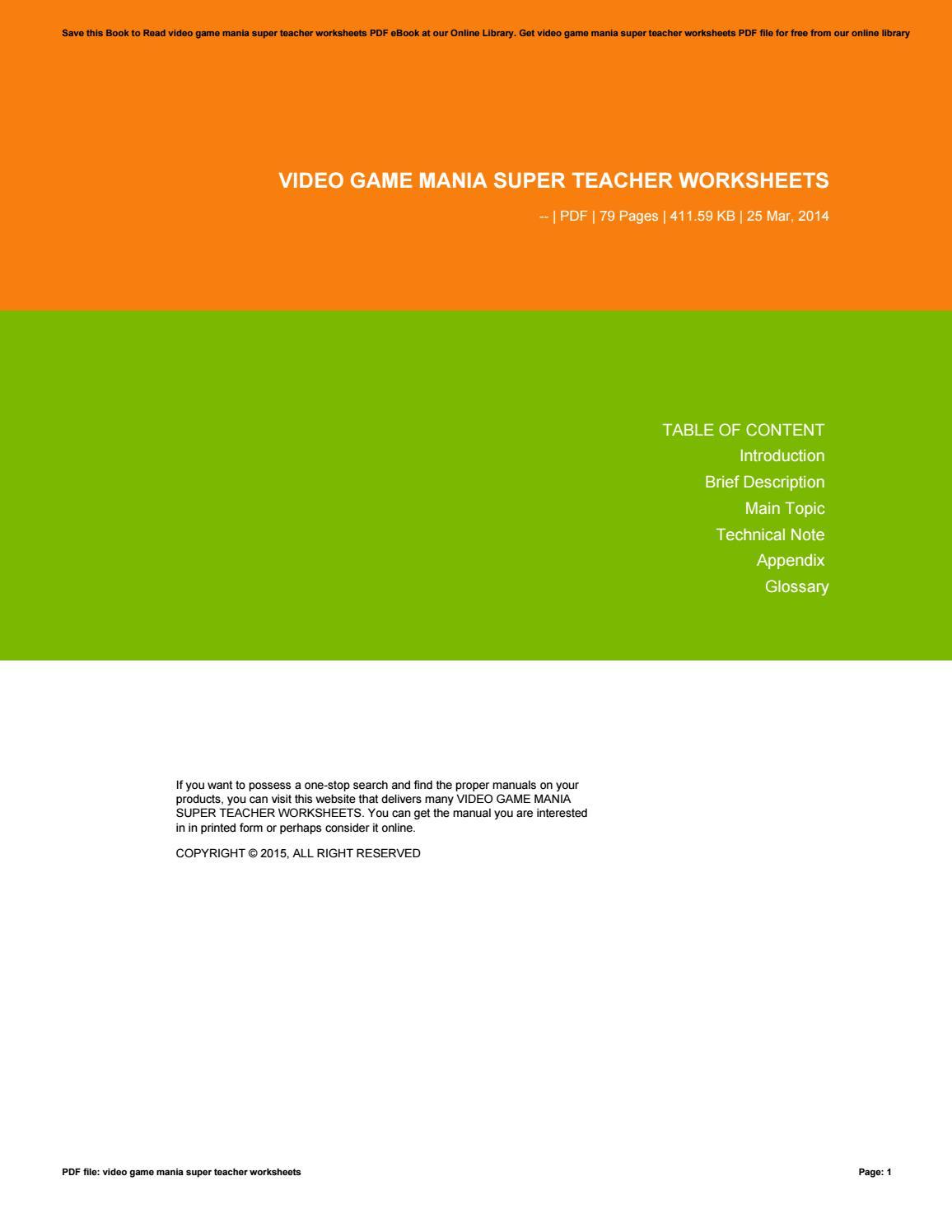 Workbooks super teacher worksheets pdf : Video game mania super teacher worksheets by moestono32kries - issuu