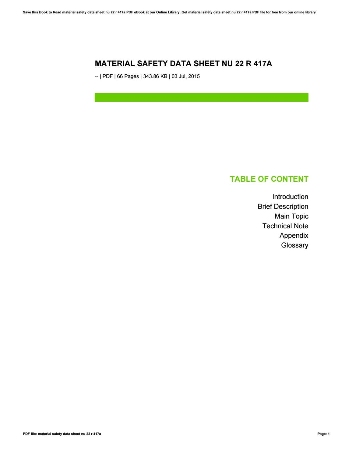 Material safety data sheet nu 22 r 417a by fitta29sutrisni