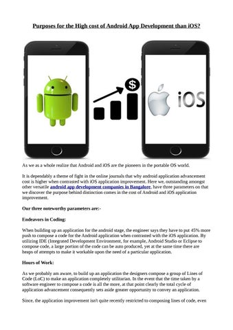 Purposes for the high cost of android app development than