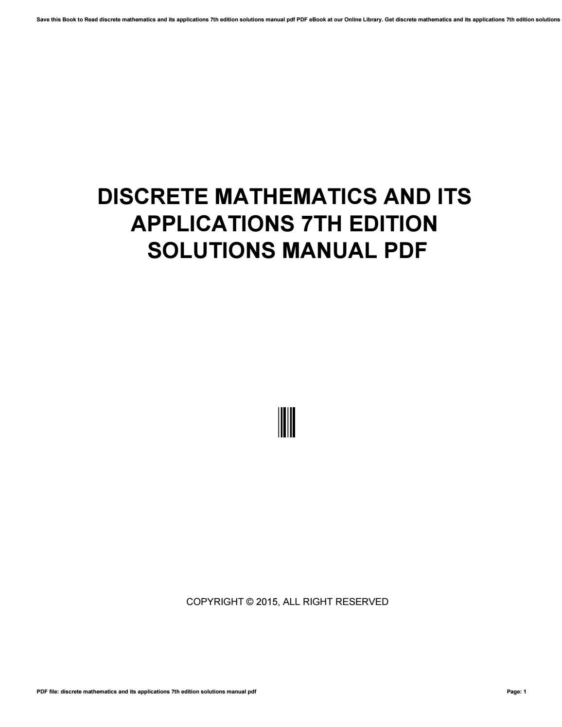Discrete mathematics and its applications 7th edition solutions manual pdf  by nugroho94dwie - issuu