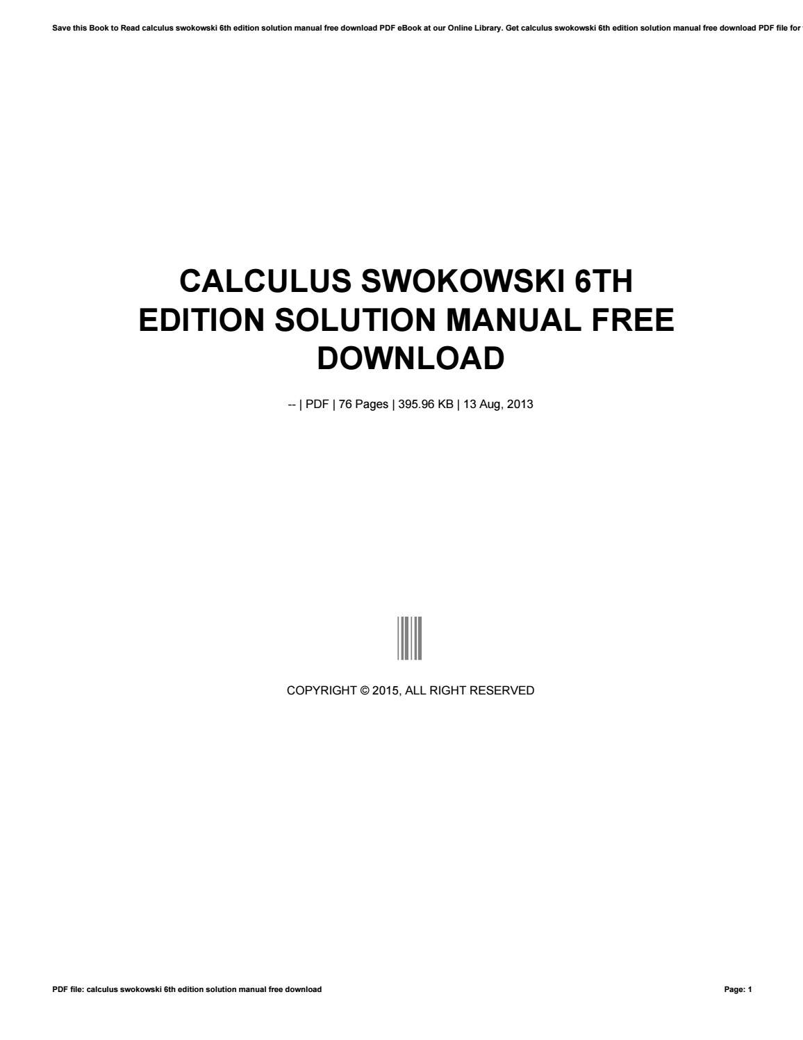 Calculus swokowski 6th edition solution manual free download by  uzzy74enduts - issuu