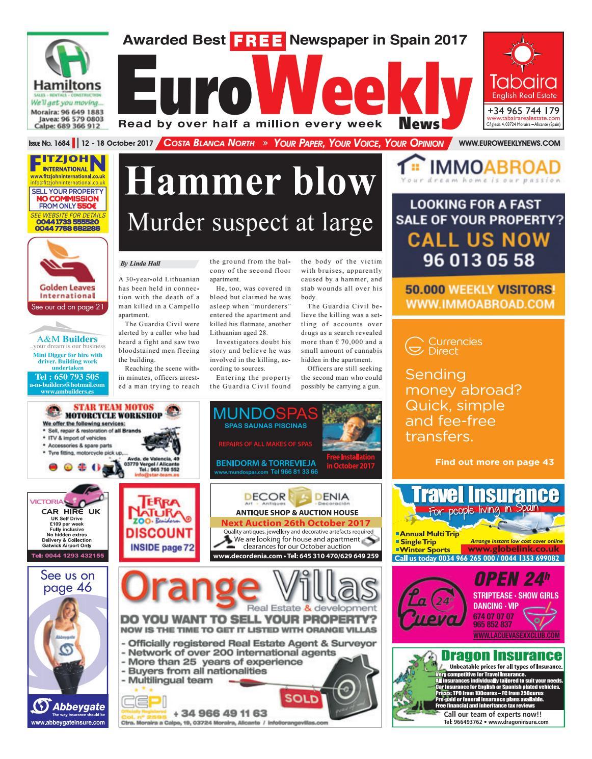 Euro weekly news costa blanca north 12 18 october 2017 issue euro weekly news costa blanca north 12 18 october 2017 issue 1684 by euro weekly news media sa issuu fandeluxe Choice Image