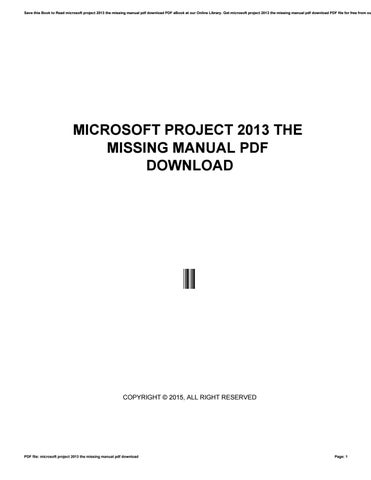 Microsoft Project 2013 The Missing Manual Pdf Download By Siswaji85aryana Issuu